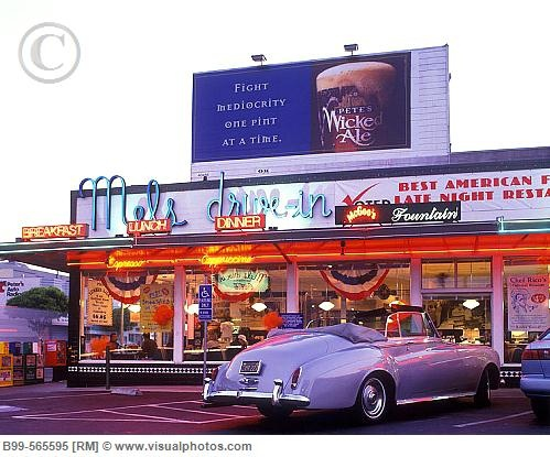 Street scene, Mels drive-in diner, Lombard street, San francisco, California (all locations are fun)