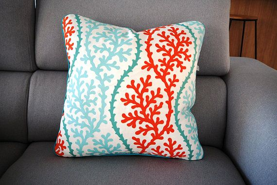 Outdoor Pillow . Sea Themed Pillow . Ocean Themed Pillow . Coastal cushion . Coral Design Pillow . Beach House Pillow . Resort Pillow .
