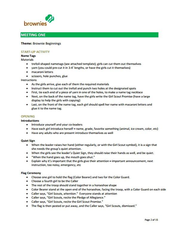 brownie_meetings.pdf | Girl Scouts | Pinterest