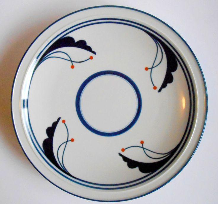 """DANSK Platter Chop Plate FLORA BLUE BAYBERRY 12"""" Footed Japan Holes for Hanging  #Dansk"""