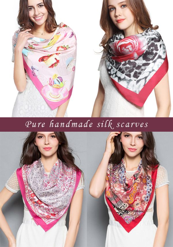 Handmade silk scarves collection!Silk Twill, elegant design created by Italian designer,delicate hand printing and hand rolling!