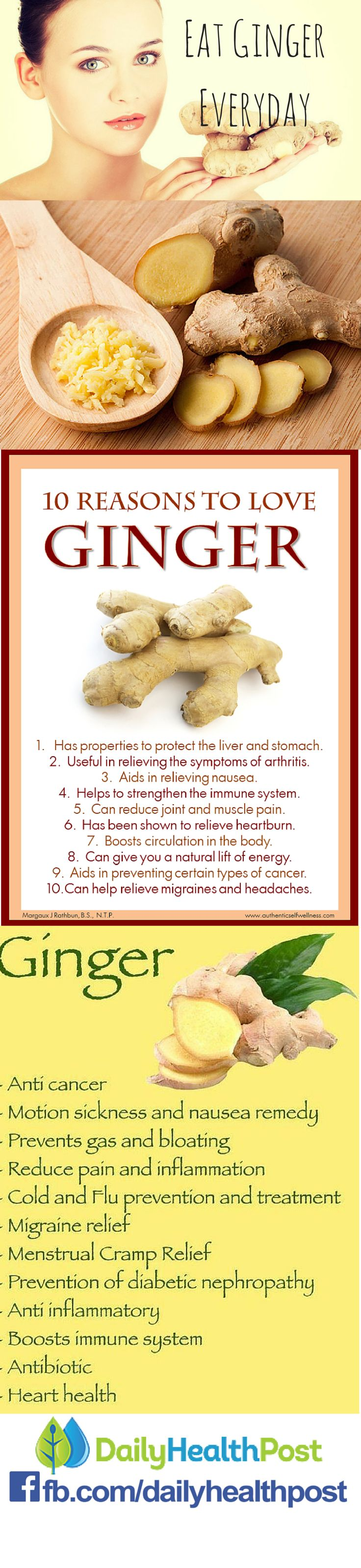 For thousands of years, all over the world, ginger has been used to help digestive health and treat pain. Moreover, modern studies continue to prove its real-life benefits and legitimize its use.     Whether it be taken dried, fresh or juiced, there's no denying that ginger is an integral part of a healthy daily diet. If you're not familiar with this root, here are 8 reasons to take it everyday.