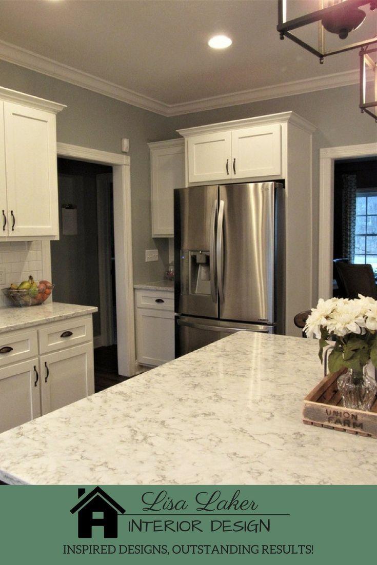 LG Viatera Rococo Quartz Countertops, White Shaker Cabinets, Vinyl Plank  Flooring, White Subway