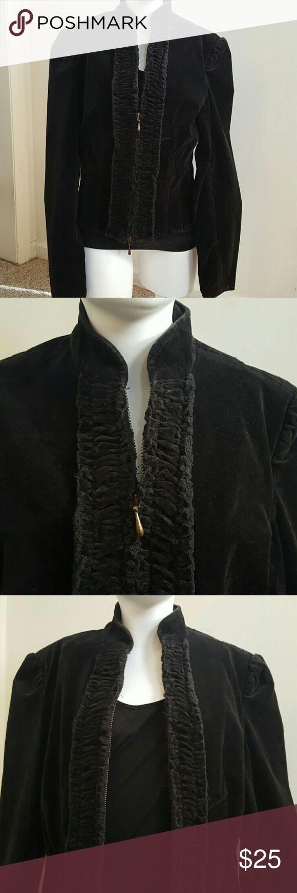 Never worn Express velour jacket. Black zipper velour jacket. Cotton/spandex. Ruffle around the zipper. Precision fit Express Jackets & Coats