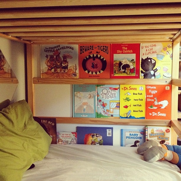 The kids made a library in their IKEA bunk bed! Looks like they're coming up with Pinterest ideas. by thefeministbreeder, via Flickr