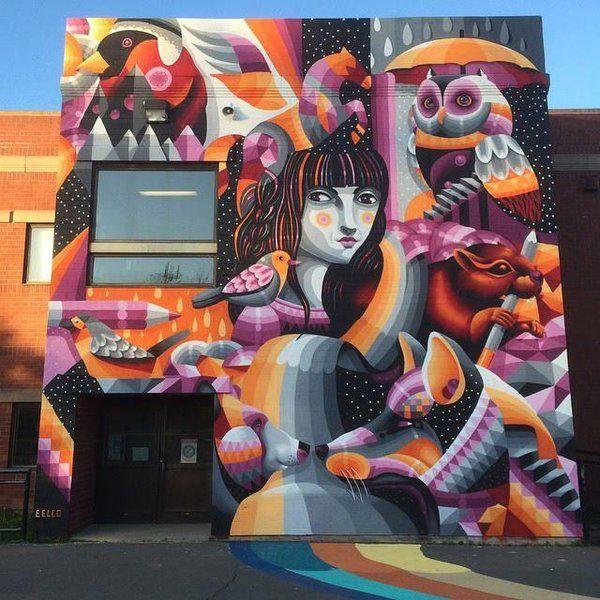 Street Art Mural by Eelco van den Berg for Edith Cavell School - Moncton, New…