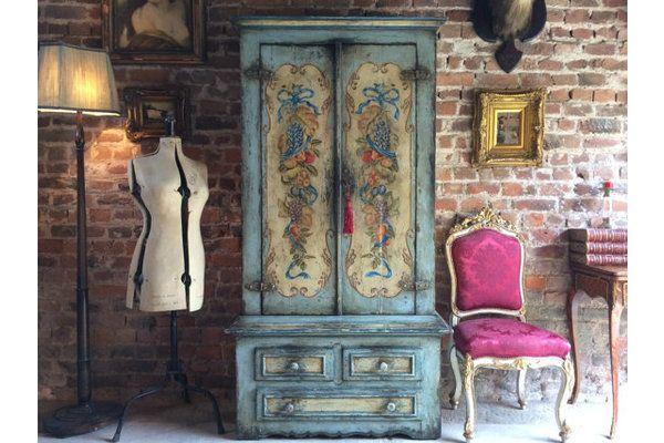 French #Antique Linen Press Cupboard Dresser 19th Century Painted | Vinterior London