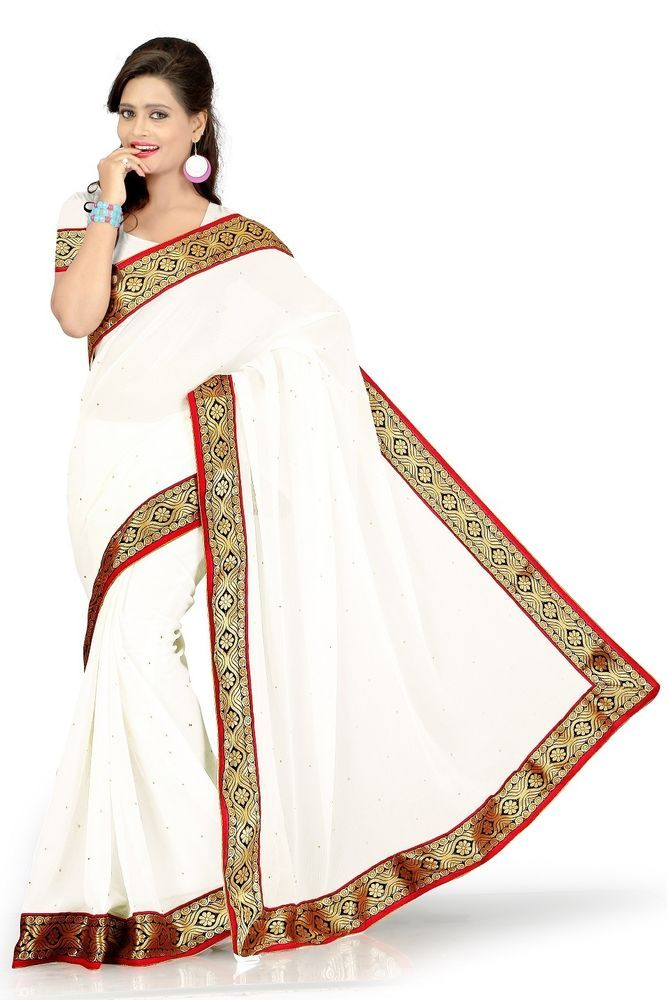 SareeStudio-Indian White Ethnic Wear Embroidery Chiffon Sari #SareeStudio #SareeSari #EthnicWear