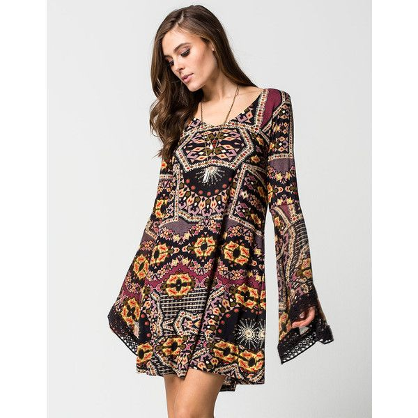 Patrons Of Peace Printed Dress ($54) ❤ liked on Polyvore featuring dresses, gold, cut out long dress, long crochet dress, cutout dress, v neck dress and crochet dress
