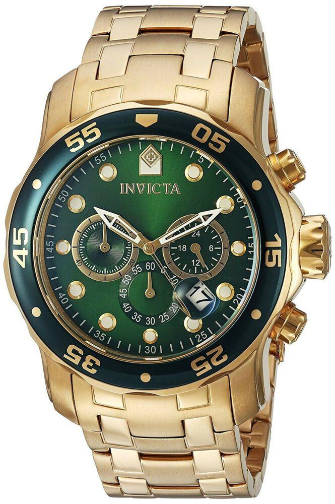 2ac025d3b Invicta Hombre Pulsera Reloj Green Face Dial Crystal Man Watch Bracelet  Gold Oro #Invicta #Casual