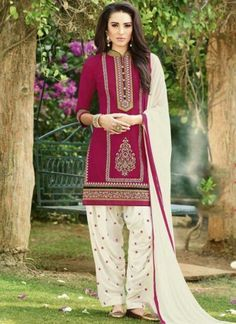 Dark Pink Off White Embroidery Work Cotton Santoon Patiala Designer Suit #Anarkali #Churidar #Pakistani #Suit #Salwar #Bollywood http://www.angelnx.com/Salwar-Kameez