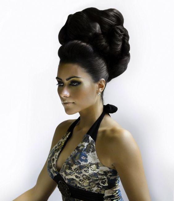 chignon choucroute cheveux noir | Belle coiffure, Chignon et Coiffure mariée