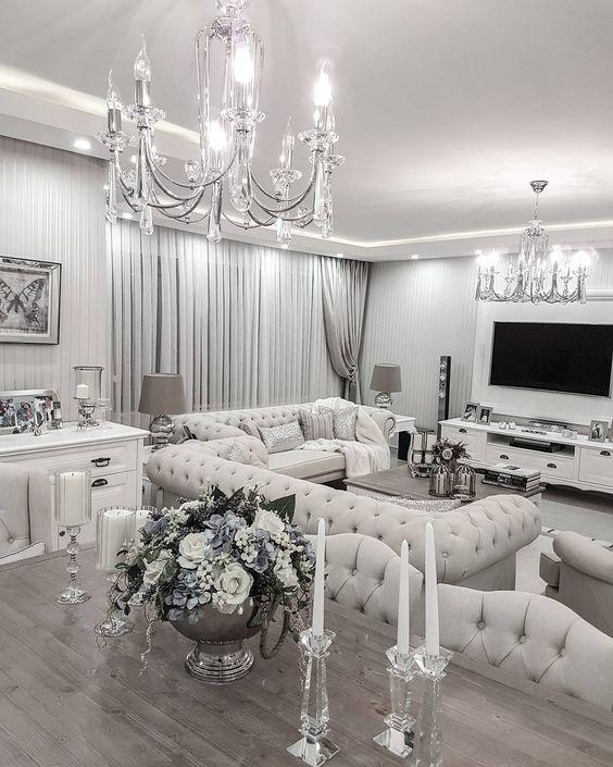 white and silver living room. beautiful desertrose interiordesign