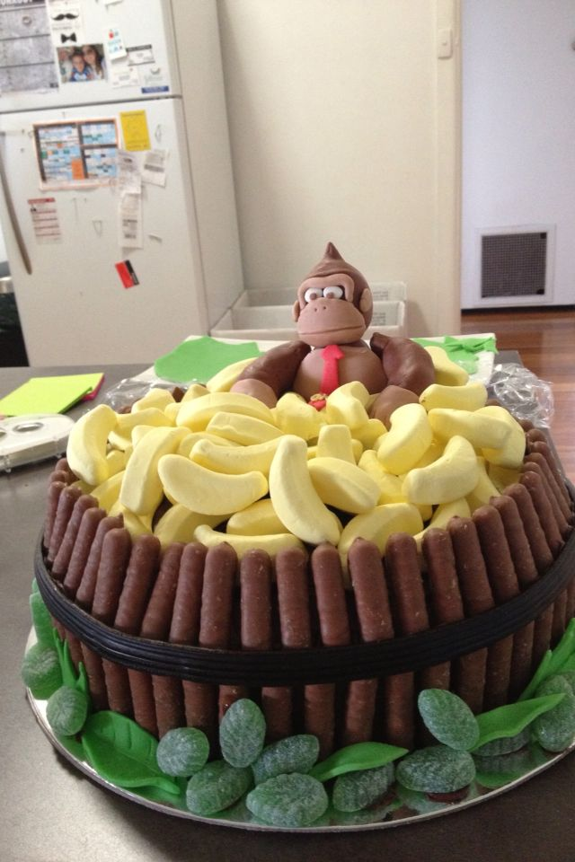 Donkey Kong cake for our video game themed party