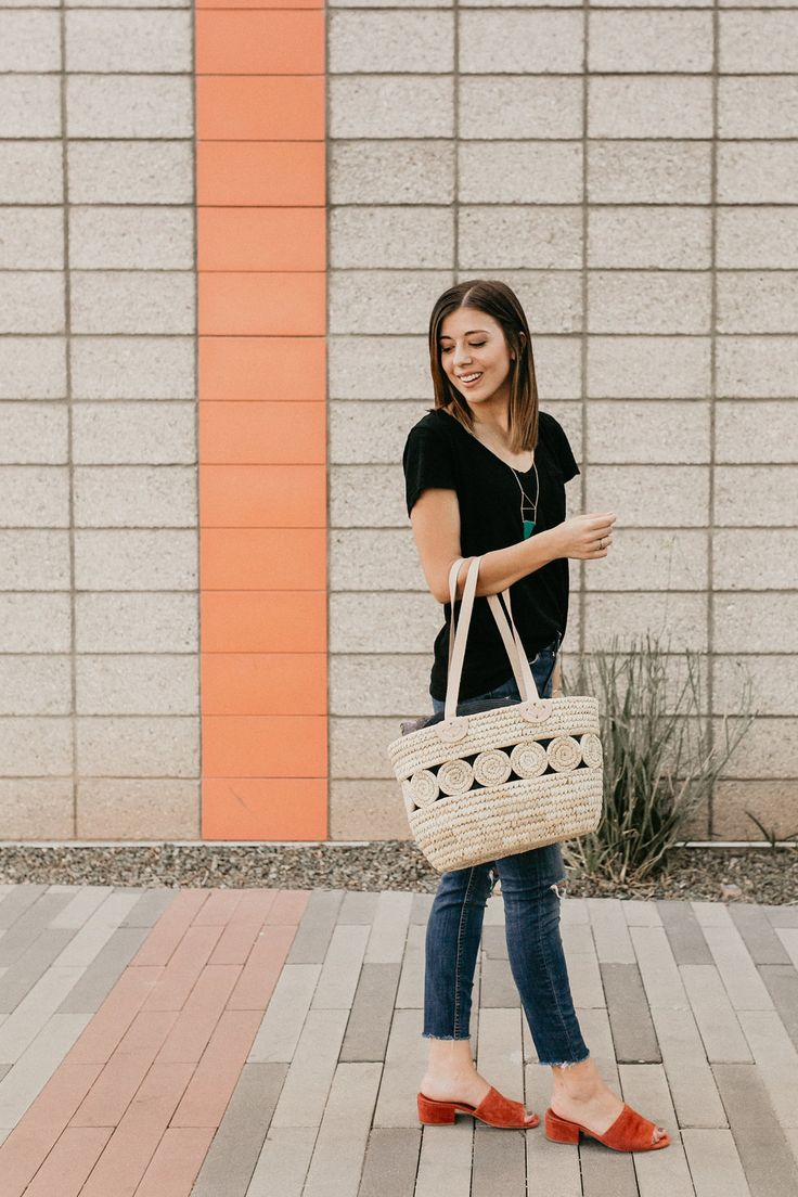 The perfect ethical and sustainable fall outfit featuring a handwoven basket from Ten Thousand Villages. Style Me Fair.