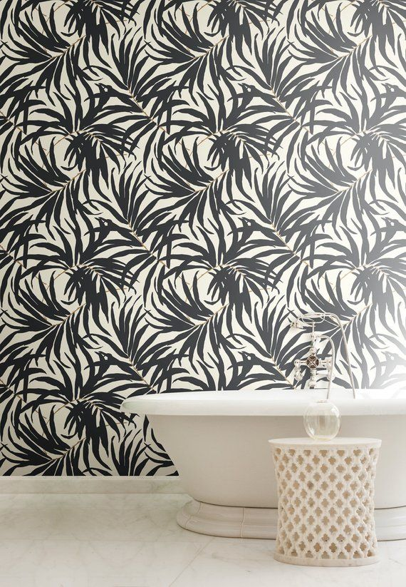 York Bali Tropical Matte Black And White Leaves Wallpaper Etsy Wallpaper Off White Black And White Leaves Wall Coverings