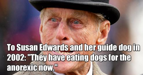 """Happy birthday, Prince Philip! The Duke of Edinburgh turned 96 on Saturday. Celebrate with 66 of the most memorable times he made ghastly public events bearable with his comedy/mostly hugely offensive gaffes. 1. """"I don't think a prostitute is more moral than a wife, but they are doing the same thing."""" 2. """"When a man …"""