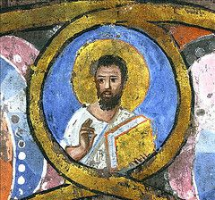 Rossano Calabro, Museo Diocesano d'Arte Sacra, Codex purpureus rossanensis fol-5r - Vier Evangelisten 5b (second half of the 6th cent) detail