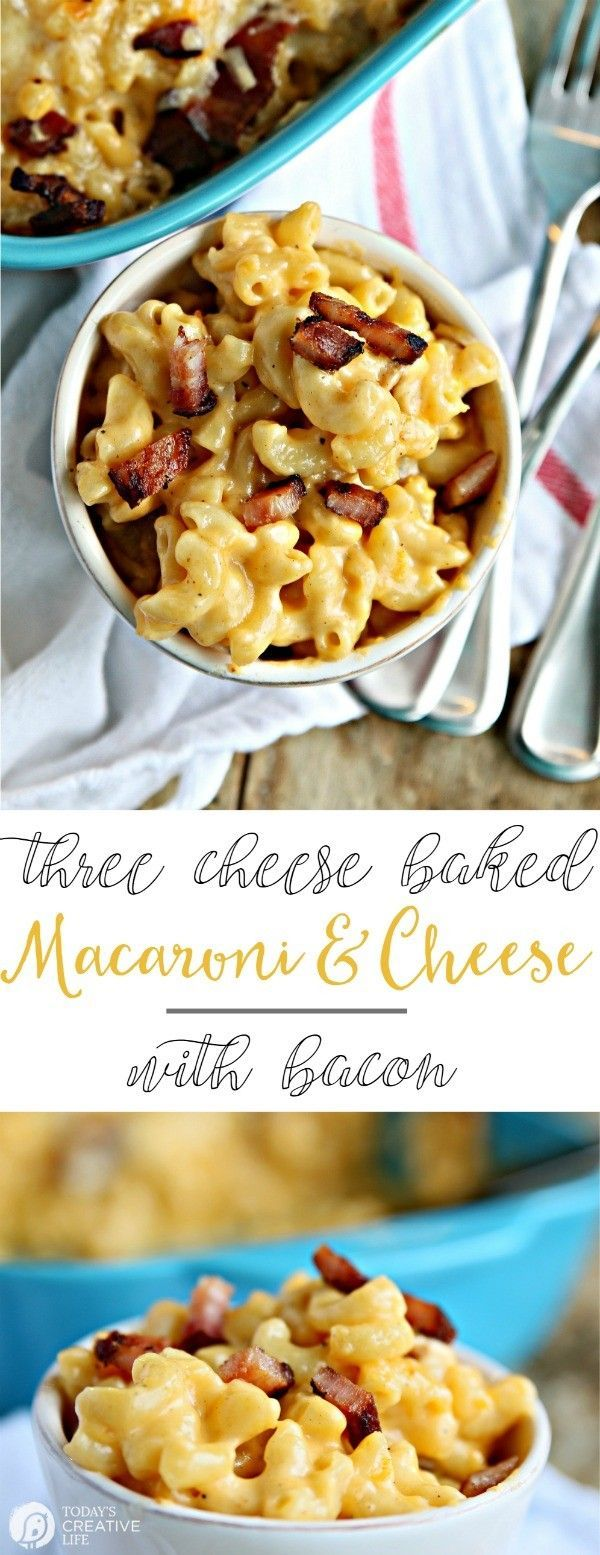 Three Cheese Baked Mac and Cheese with Bacon | This macaroni and cheese recipe is the ultimate comfort food. Full of white cheddar, smoked gouda and colby jack and topped with bacon! Great as a Thanksgiving Holiday side dish or dinner idea. Easy recipes a