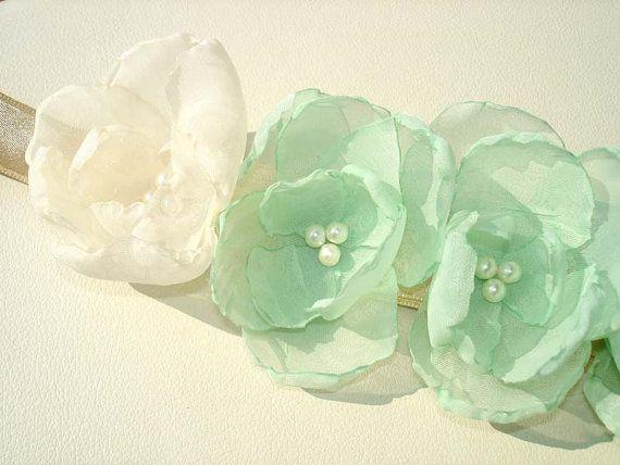 Mint  Peach Wedding Sash Pearl Bridal Sash Ivory by MBrides
