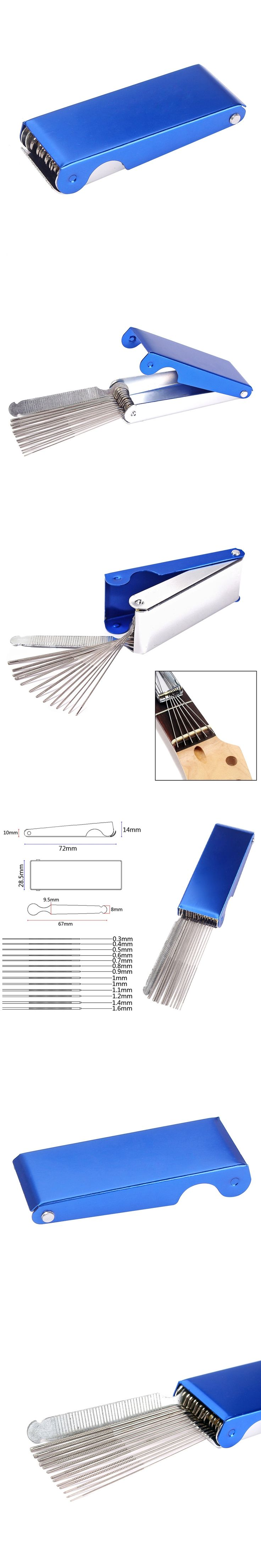 Guitar Ukulele Nut Bridge Files Filing Tool Set 13 round files and 1 flat for