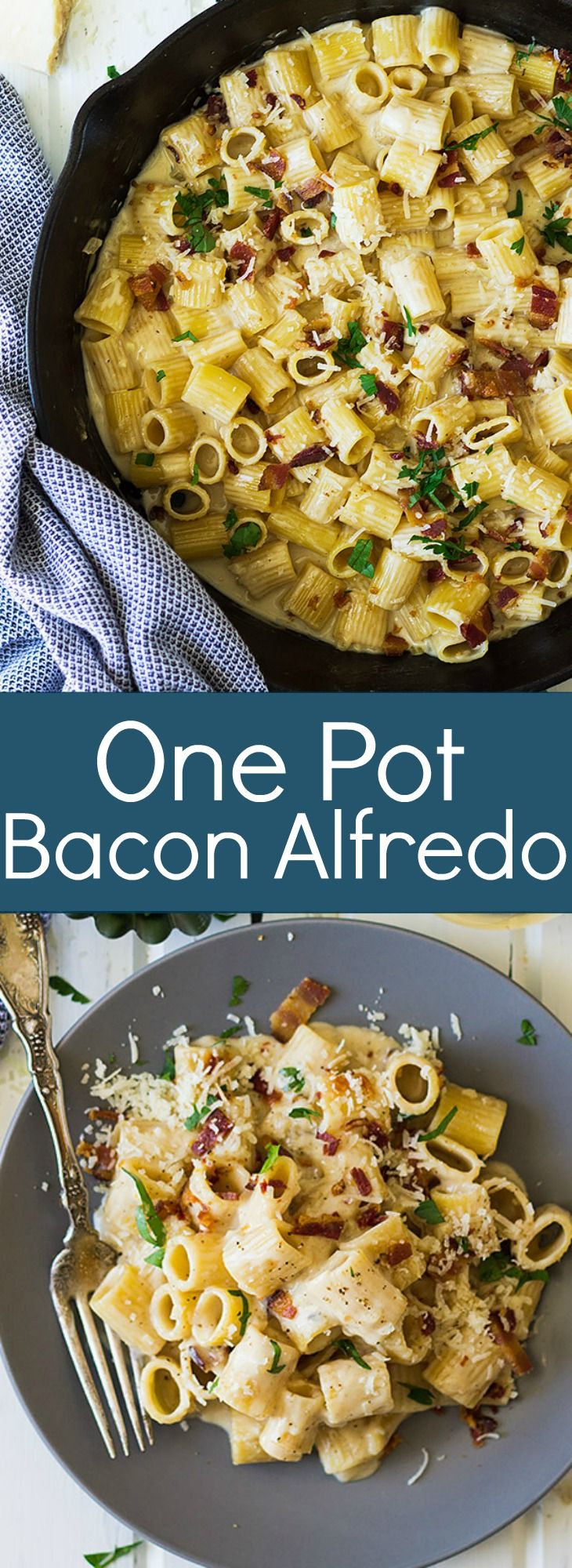 This One Pot Bacon Alfredo is a quick and easy weeknight meal that's full of flavor!   www.countrysidecravings.com