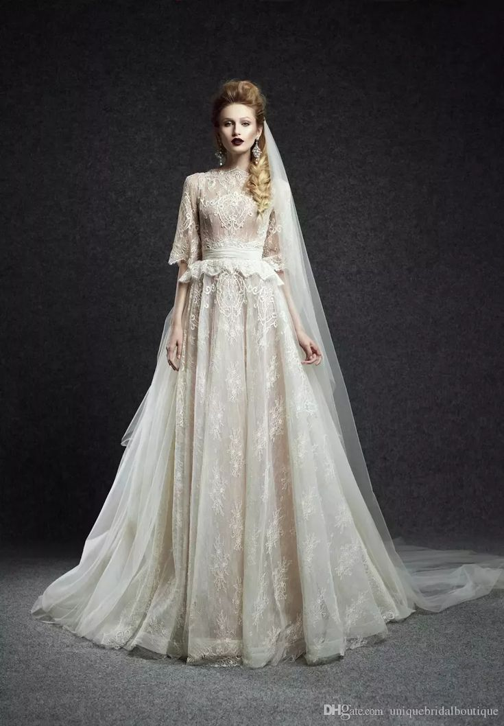 Discount 2016 Ersa Atelier Wedding Dresses Half Sleeves With Free Veil And Peplum Ivory Tulle Lace Romantic Bridal Gowns Custom Made Aline Wedding Dresses Vintage Lace Sleeve Anthropologie Wedding Dresses From Uniquebridalboutique, $141.81| Dhgate.Com #alineweddingdresses