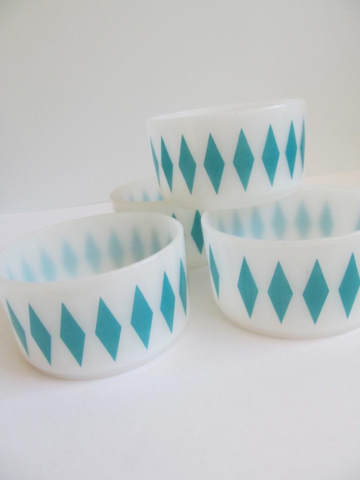 Fire King Teal Diamond Harlequin Bowls - 4 Milk Glass Cereal/Soup Bowls. $46.00, via Etsy.