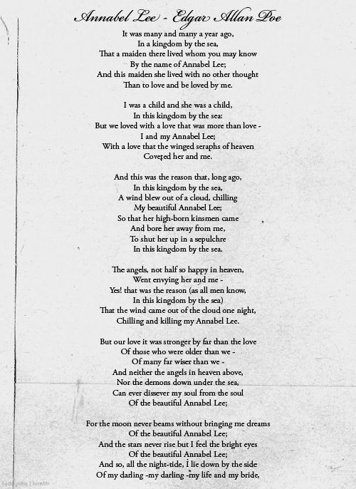 the role of the poet in the poem annabel lee by edgar allan poe Annabel lee is a famous poem by edgar allan poe it was many and many a year ago in a kingdom by the sea that a maiden there lived whom you may know by the.