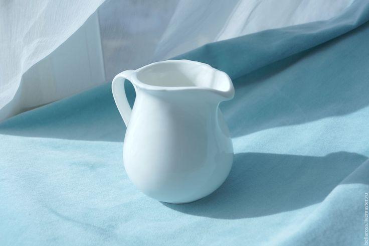 Купить Кувшинчик для цветов. Керамика. - белый, кувшин, кувшинчик, ваза, ваза для цветов, ваза декоративная