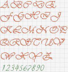 Risultati immagini per punto croce alfabeto corsivo maiuscolo e minuscolo