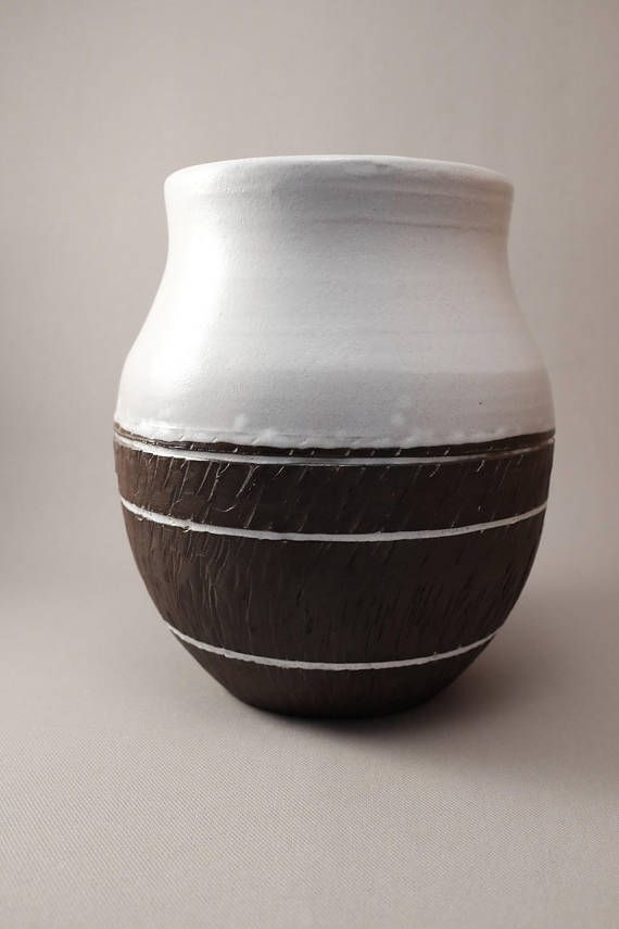Large Handmade Wheel Thrown Vase with Southwestern and