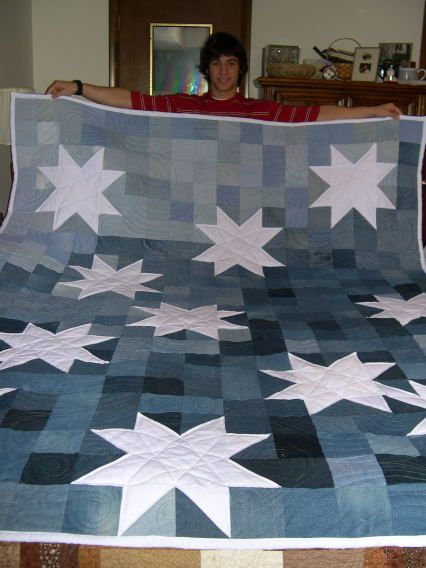 jean quilt. I love this idea, for jeans, but also for the random piles and piles of leftover blues.