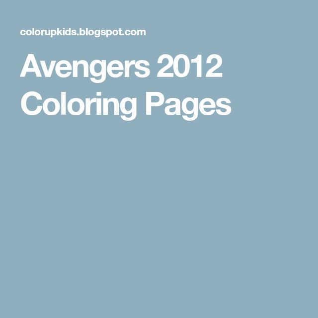 Avengers 2012 Coloring Pages