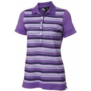 amethyst/white/black stripe ladies short sleeve golf polo #golf4her #crossgolf #fallgolf