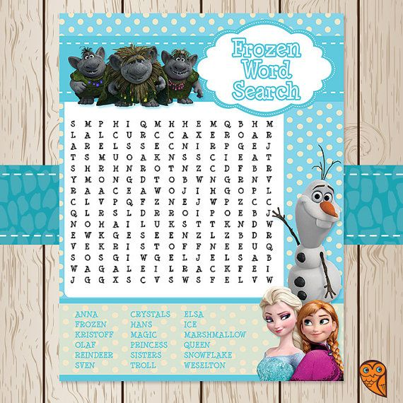 Printable Disney Frozen Word Search Game By
