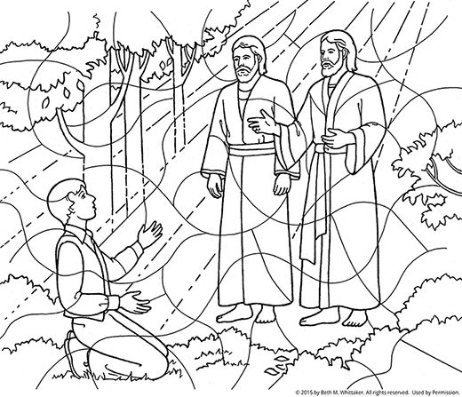 A blackandwhite coloring page of Joseph Smith kneeling