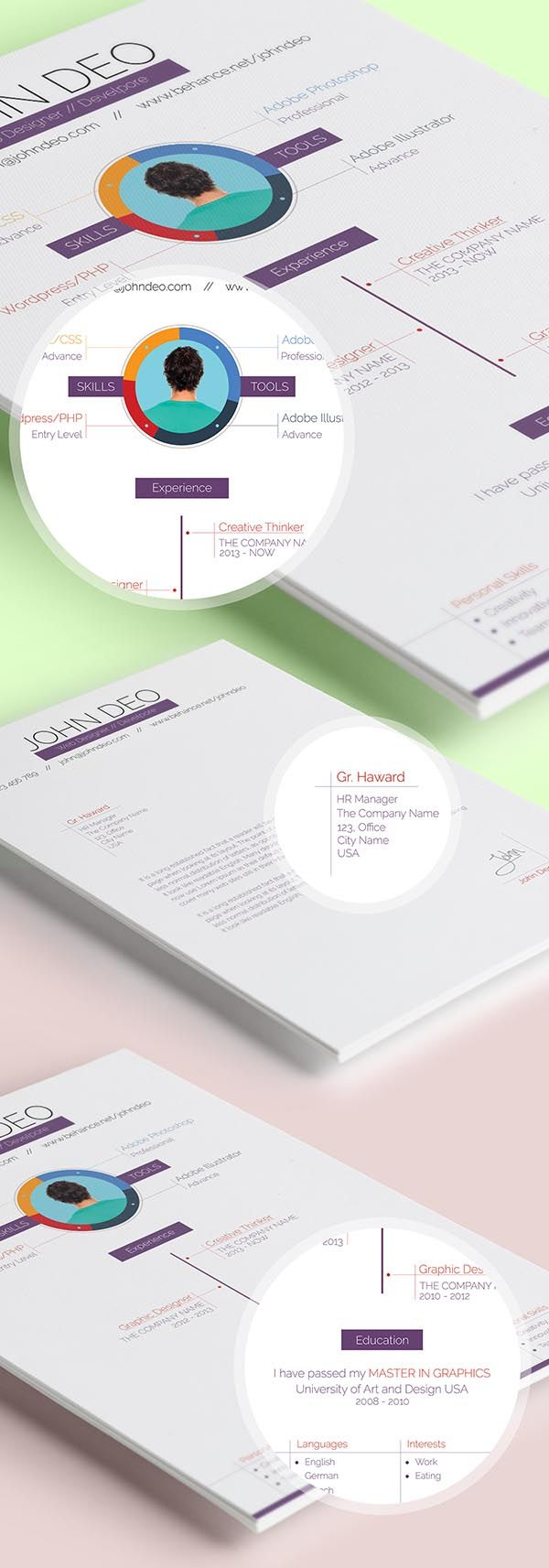 Best Cv Images On   Creative Resume Creative Cv And
