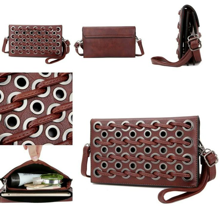#tasfashionimport B21168-Deep Brown-H14cm-W24cm-T4cm-TP-PU reseller 140rb retail 160rb
