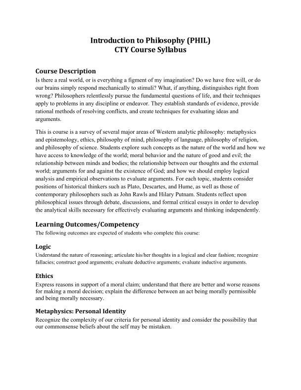 Introduction To Philosophy Phil Cty Course Syllabus Syllabus Course Syllabus Philosophy
