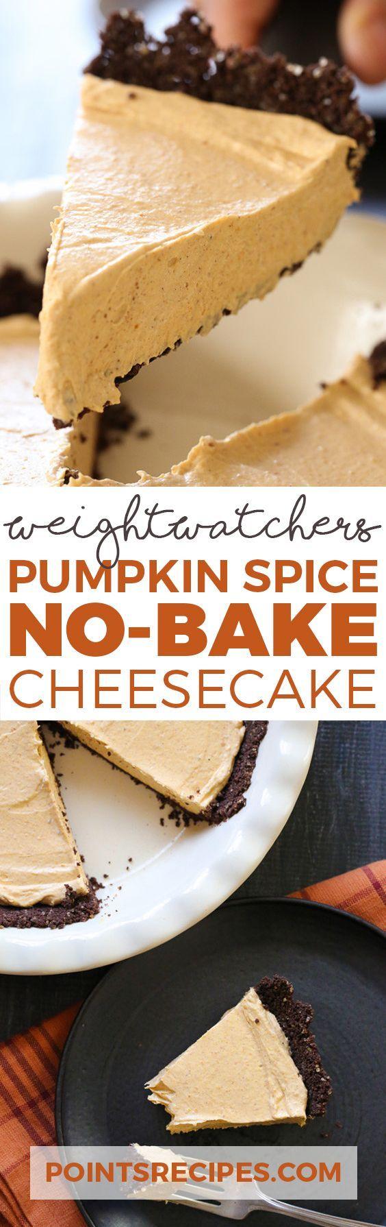 Pumpkin Spice No-Bake Cheesecake (Weight Watchers SmartPoints)