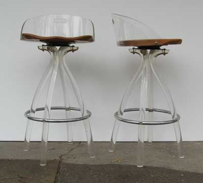 Late U002770s/early U002780s Lucite Bar Stools