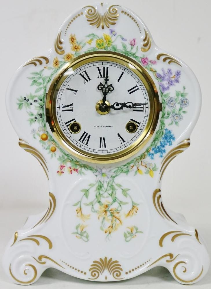 Beautiful Vintage Franz Hermle Hand Painted White Porcelain 8 Day Mantel Clock Ebay Mantel Clock Clock White Painting