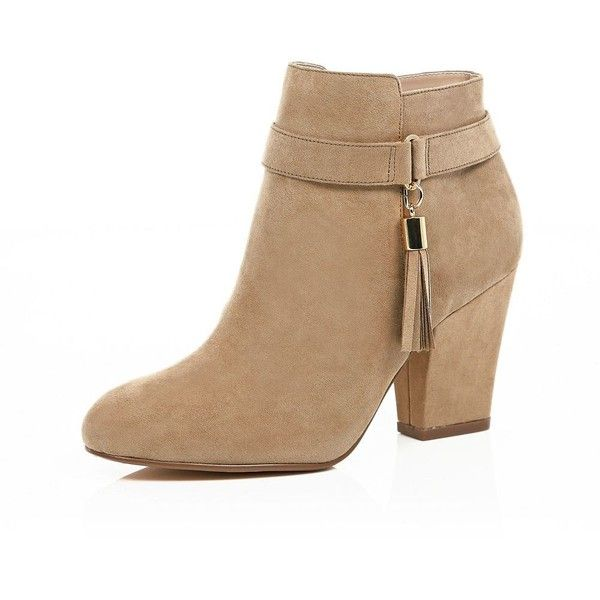 River Island Light brown tassel trim ankle boots found on Polyvore featuring shoes, boots, ankle booties, heels, botas, ankle boots, brown, shoes / boots, women and high heel boots