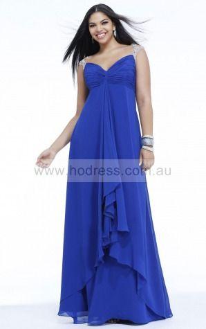 Cap Sleeves Zipper Sweetheart Floor-length Chiffon Evening Dresses claa1094--Hodress