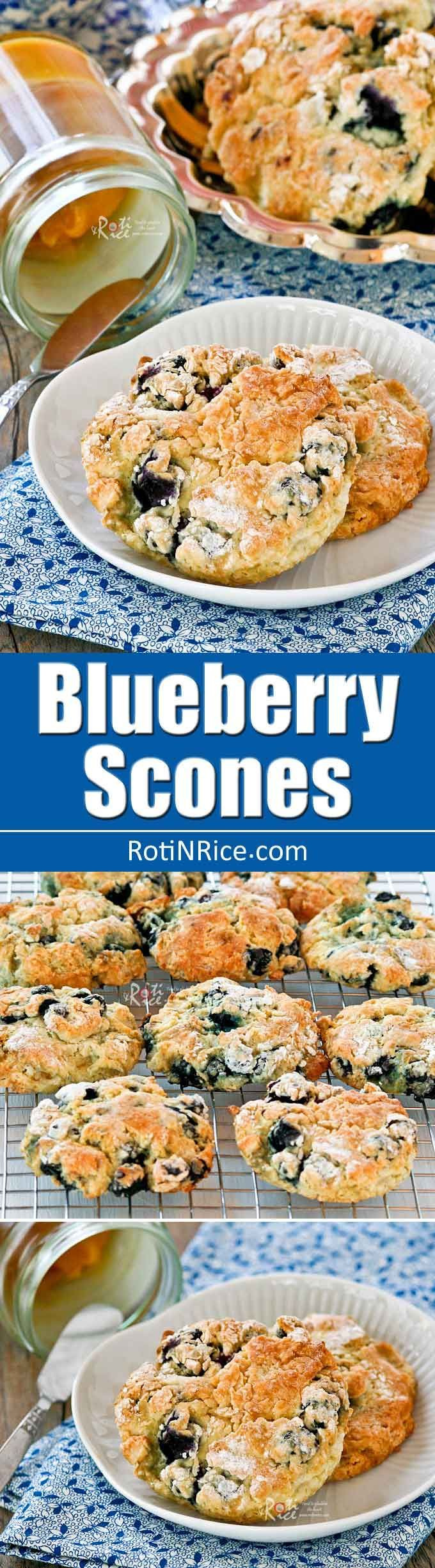 Extra tender Blueberry Scones made with cake flour or soft winter wheat. Delicious served with lemon curd and freshly whipped cream. | RotiNRice.com
