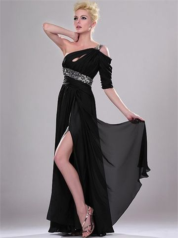 Black One Shoulder Empire with Sequins and High Slit Floor Length ...