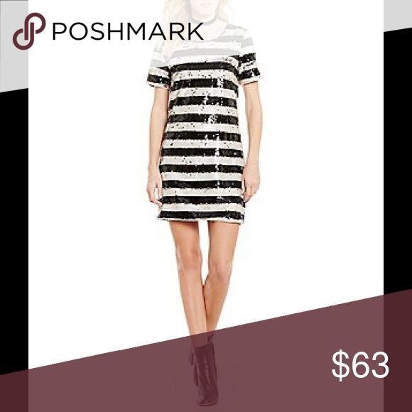 Sugar + Lips black and white stripe sequin dress Brand new with tags! Perfect holiday dress ❤️ Sugarlips Dresses Mini
