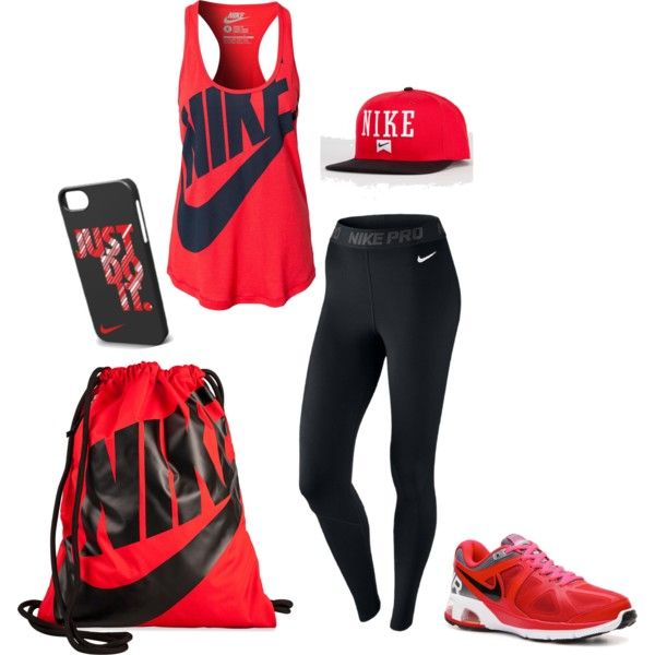 """Red Nike"" by brennah on Polyvore"