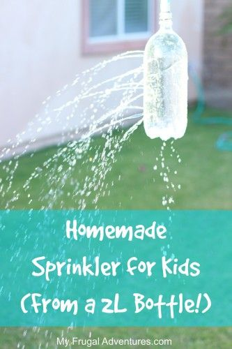 Homemade Sprinkler for Kids- from a 2LLiter Bottle, Kids Stuff, Bottle Summer, Summer Activities, Homemade Sprinkler, Summer Fun, Easy Diy, Diy Projects, Diy Sprinkler